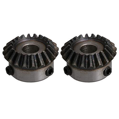 BQLZR - Rueda de engranajes cónicos de acero de 8 mm de diámetro de agujero plateado y negro, 20 dientes 45#