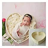 Newborn Props Photography Heart-Shaped Wooden Bowl...