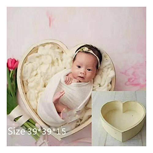 Neugeborene Requisiten Fotografie Herz Form Holzschale Baby Foto kleines Holz Bett Posieren Baby Fotografie Requisiten Baby Junge Mädchen Bild Fotoshooting Studio Posing Love-Heart (beige, onesize)