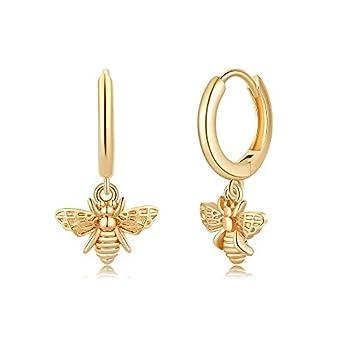 Bee Earrings for Women Huggie Hoop 14K Gold Plated Bee Dangle Hoop Dainty Earrings Honey Bumble Bee Huggie Hoop Hypoallergenic Earrings for Women Bumblebee Earring