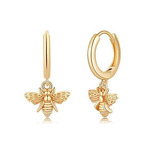 Bee Hoop 14K Gold Plated Earrings $6.00 (50% OFF Coupon)