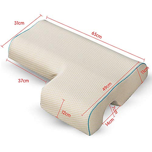 Pillow , Couples Pillow, Arched Cuddle Pillow with Slow Rebound Memory Foam for Arm Rest, Anti Pressure Hand Pillow for Couples Sleeping Noon Breaks Home (D-Left)