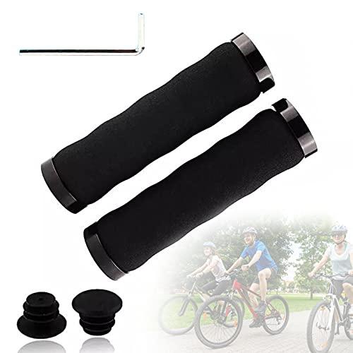 SXJXB Cómodas Empuñaduras de Esponja con Absorción de Impactos para Bicicleta, Empuñaduras para MTB, Manillar con Diseño Ergonómico de Bloqueo Doble, Manillar de Bicicleta,Negro