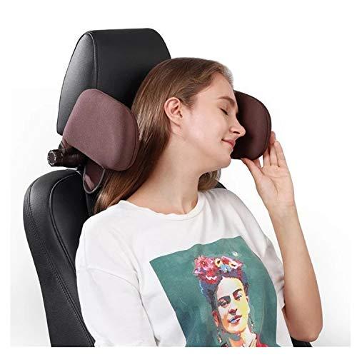 ErYao Car Headrest Pillow, Travel Headrest, Car Neck Pillow Head Pillow, Sleeping Travel Car Seat Pillow, Car Neck Head Shoulder Sleep Cushion Car Side Pillow for Kids Adults Elders (Brown)