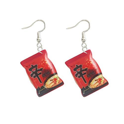 Xineker Funny Small Pretend Instant Noodles Food Chilli Earrings Fashion Women's Ladies Elegant Jewellery