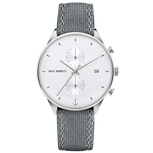 PAUL HEWITT Cronografo uomo Chrono Line White Sand, Cronografo uomo acciaio (argentato), Orologio da polso uomo con cronometro e cinturino in tessuto (grigio), quadrante bianco