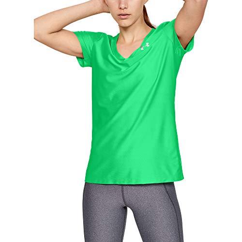 Under Armour Women's Tech Novelty V-neck T-Shirt, Vapor Green (299)/Metallic Silver, Medium