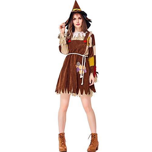 Disfraz De Cosplay del Espantapájaros del Mago De Oz Drama De Cuento De Hadas Ropa para Padres E Hijos para Halloween Ropa Femenina,L