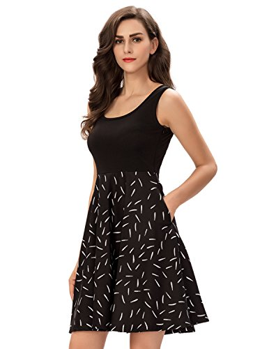 One Sight Women's Vintage Scoop Neck Midi Dress Sleeveless A Line Swing Floral Tank Dress with Pockets