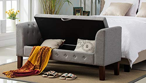 Changjie Furniture Modern Fabric Storage Bench with Arms Upholstered Tufted Footstool Ottoman Bench for Living Room Bedroom Grey