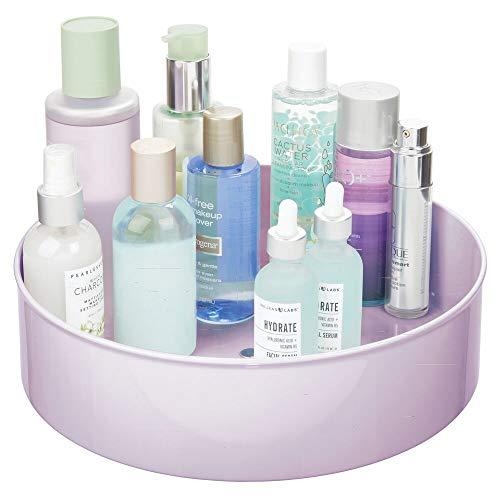 mDesign Organizador de Maquillaje con Base giratoria – Cestas organizadoras para Guardar Maquillaje y Productos de Belleza – Bandeja Rotatoria para ordenar cosméticos en el baño o el tocador – Lila