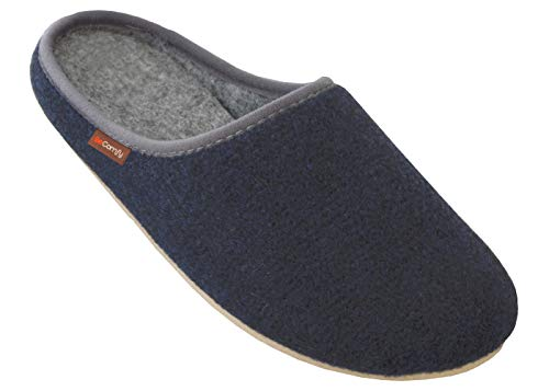 BeComfy Filzpantoffeln Slippers Damen Herren Unisex Filz Hausschuhe mit Filzsohle/Gummisohle Pantoffeln 36-46 EU (41 EU, Marineblau Gummisohle)
