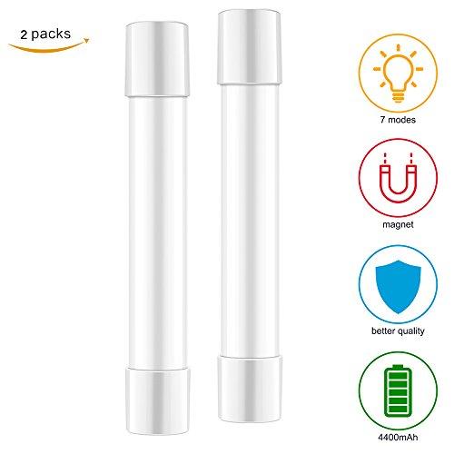 Konesky lampe de camping lumière stroboscopique portable LED lampe torche avec 4 modes USB alimenté avec aimant pour randonnée garage réparation de voiture (2 Pcs)
