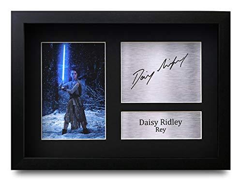 HWC Trading Daisy Ridley A4 Gerahmte Signiert Gedruckt Autogramme Bild Druck-Fotoanzeige Geschenk Für Star Wars Rey Filmfans