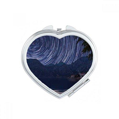DIYthinker Big Moon Dark Night Sky Coeur Maquillage Compact Miroir de Poche Portable Mignon Petit Cadeau Miroirs Main Multicolor