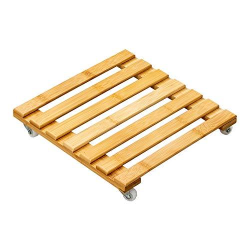 Cratone Holz Pflanzenroller eckig Rolluntersetzer Buche massiv 30 cm Untersetzer mit Rollen für Pflanzen (30cm)