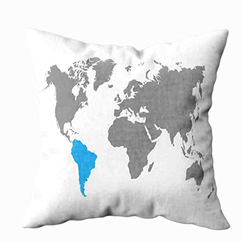 JUCHen The Map of South Americ a18 x 18 inches Cushion Cover Polyester Throw Pillow Covers Square Pillowcase Home Decoration