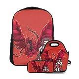 Aki and Rose Dragon Mochila escolar para niñas 3 en 1 lindo juego de librería ligero para niños preescolares