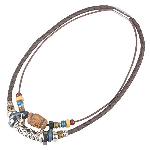 Ancient Tribe Hemp Brown Leather Wood Beads Surfer Necklace,15 Inches