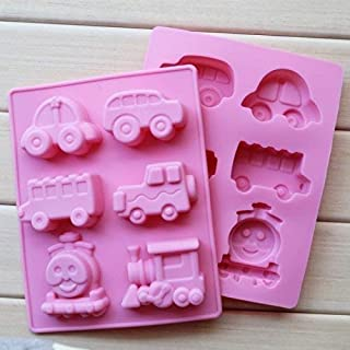 Vedini™ Silicone 6 Cavity Car Jeep Bus Thomas Train Shapes Soap Making Silicone Mould Fondant Chocolate Resin Clay Candle ...
