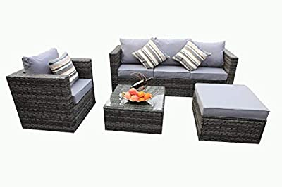 YAKOE Rattan 5-Seater Garden Furniture Sofa Table Chairs Set - Grey Weave by YAKOE