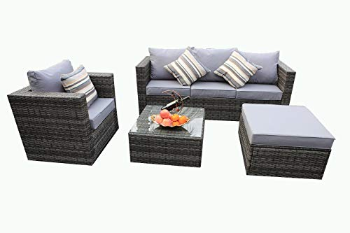 YAKOE Rattan 5-Seater Garden Furniture Sofa Table Chairs Set - Grey Weave