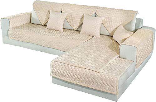 Mazu Homee Qui Sews Sofa-Set, Samtschleifer, L-förmige Leder-Armlehne und Verwendung in Katze Hund Haustier Liebe Sitzende Rückendecke, 2 Stück (28 x 28 Zoll, Grau)