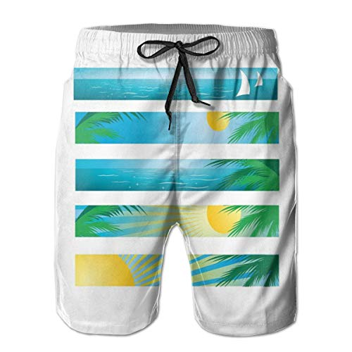 ZMYGH Men's Sports Beach Shorts Board Shorts,Banner Style Horizontal Stripes with Exotic Elements Tropical Trees Cartoon,Surfing Swimming Trunks Bathing Suits Swimwear,Medium