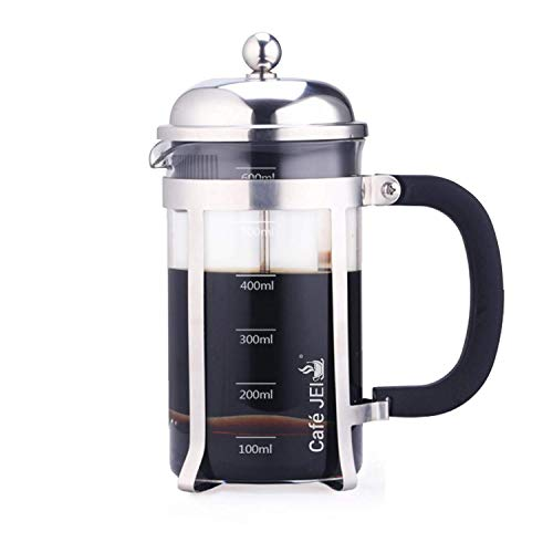 Cafe JEI French Press Coffee and Tea Maker 600ml with 4 Level Filtration System, Stainless Steel, Heat Resistant Borosilicate Glass (Chrome, 600ml)