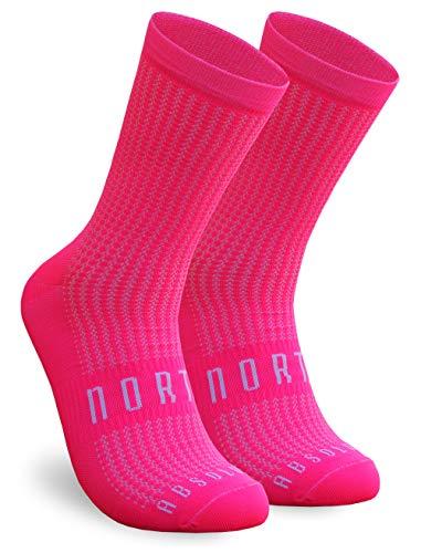 NORTEI Calcetines Rosa Flúor para Ciclismo, MTB y Running de Caña Alta para Hombre y Mujer – Absolute Pink (S-M (38-42))