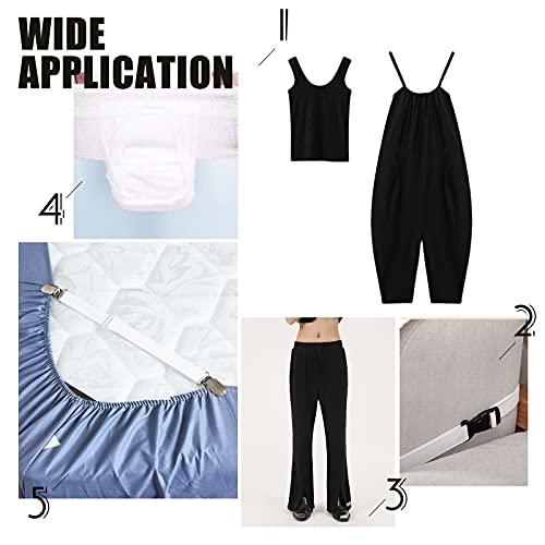 BENECREAT Banda elástica plana de 25 mm con ojal para botones, color blanco, de punto, con 10 botones de resina, para faldas, pantalones cortos, pantalones y cintura