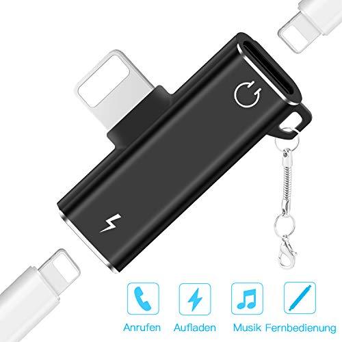 TINICR 2 In 1 Lighting Adapter Splitter für i-Phone 11/11 Pro / 11 Pro Max/XS/XS Max/XR/X / 8/8 Plus / 7/7 Plus, Kopfhörer Audio & Laden Dual Anschlüsse Dongle (Schwarz)