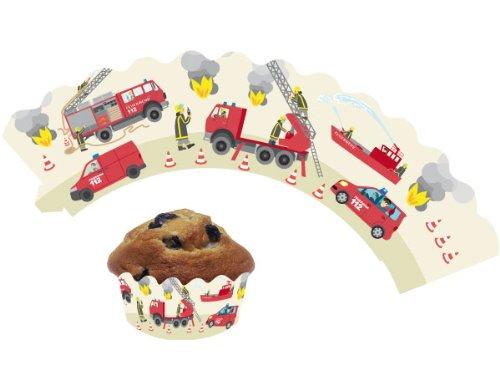 12 Feuerwehr - Cupcake Deko Banderolen von DH-Konzept // Muffinförmchen Muffin Förmchen Kindergeburtstag Geburtstag Party Kuchen