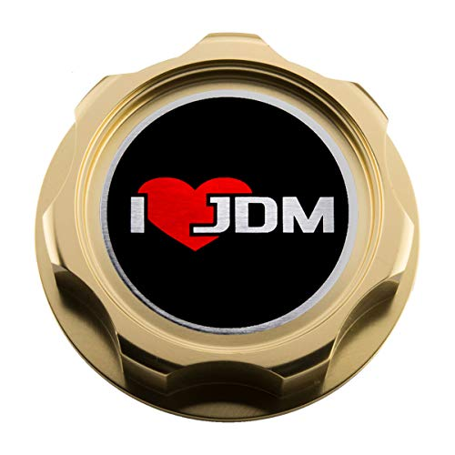 VMS RACING GOLD OIL CAP with I LOVE JDM Emblem in CNC Machined Billet Aluminum Compatible with Honda Acura Integra