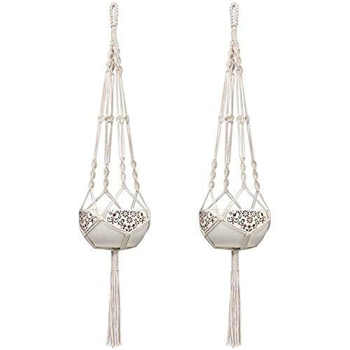 MINGMIN-DZ Dauerhaft 2 Stück Blumentopf-Netz Beutel Pflanze Greening Hanging Basket Hanger Baumwolle Leinen Handarbeit Baumwolle Seil gesponnenes hängendes Seil