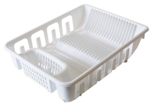 United Solutions SK0109 White All in One Standard Plastic Sink and Kitchen Dish Rack - Self Draining Dish Rack Holds 22 Plates and 8 Glasses in White