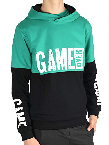 BEZLIT Jungen Kinder Hoodie Kapuzen Pullover Sweat-Shirt Sweater Sweatjacke Pulli Game Over 30043 Grün 152