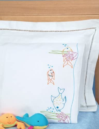 Max 56% OFF Jack Dempsey Branded goods 1605 351 Children's P White Stamped with Pillowcase