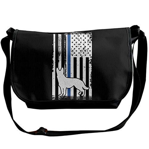 K9 Police Officer Thin Blue Line German Shepherd Schultertasche Crossbody Bag für Herren Damen Messenger Bag Fashion Umhängetasche für Shopping, Student Studium, Business