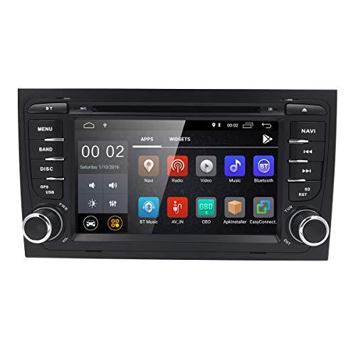 hizpo 2 Din 7 Pouces Android 7.1 Quad Core Moniceiver Récepteur DVD pour Audi A4 2002 - 2008 Support GPS Navigation / Bluetooth / Volant Télécommande WiFi