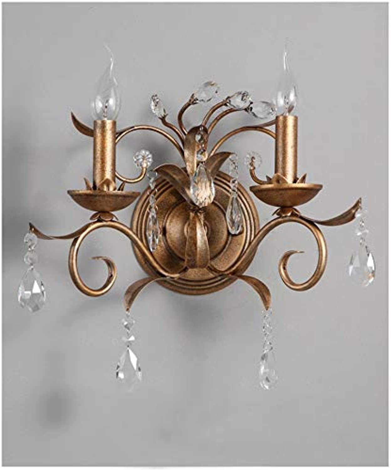 Crystal Wall Lamp Retro Metal Art Decorative Wall Candle Light Brass Bedside Lamp Living Room Candle Wall Lamp
