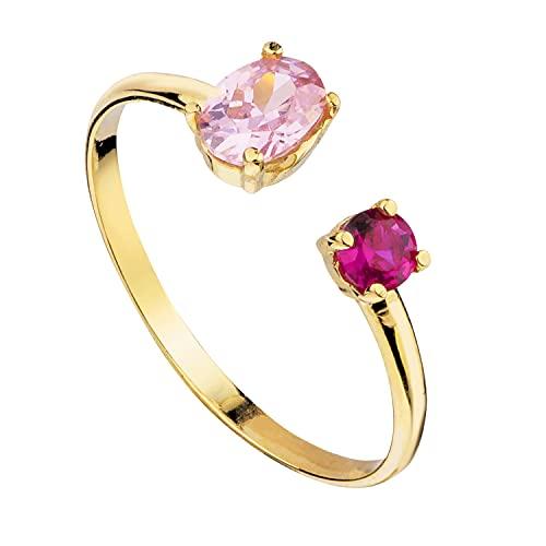 Anillo abierto mujer compromiso aniversario oro amarillo 18 kilates 750 circonitas rubi y topacio rosa de francia en garras