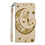 CHICKZKAKA Wallet Case Embossed Marble Moon Pattern Slim PU Leather Flip Stand Cover Magnetic Closure with Card Holder Slot Wrist Strap Protective Shell for Apple iPhone 6S Plus 5.5 Inch - Yellow