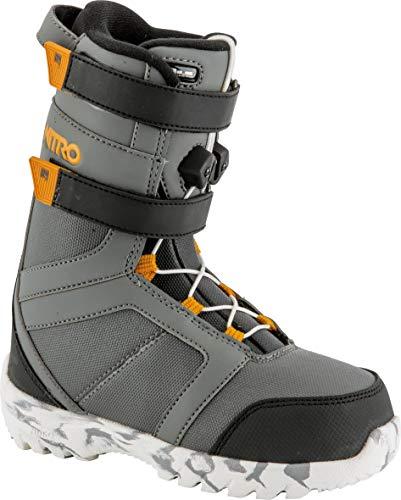 Nitro Snowboards Kinder Rover QLS '19 Leichter Warmer Kids Snowboardboot Snowboardschuh mit Schnellschnürsystem Boots, Charc-Blk-Orange, 17.5