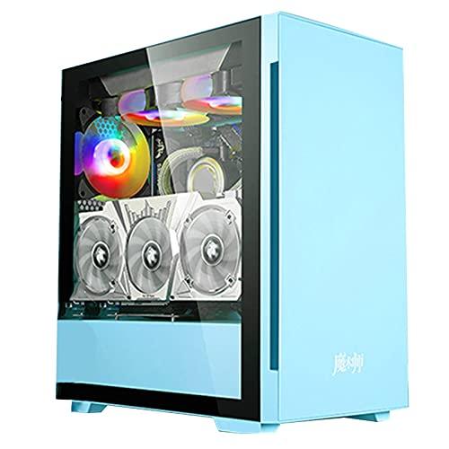 WSNBB Caja De PC Mid-Tower,Juego De Escritorio Refrigerado por Agua,Vidrio Templado,Caja Matx Transparente,Soporte para Tarjeta Gráfica,Instalación Vertical/Refrigeración por Agua 240/360