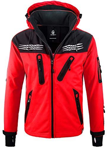 Rock Creek Herren Softshell Jacke Outdoor Regenjacke Windbreaker Softshelljacken Wanderjacke Skijacke Laufjacke Thermojacke Kapuze H-159 Rot XL