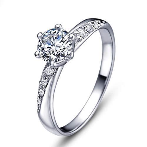Anillo de boda de plata de ley 925 con cristales de circón, para regalo de joyería