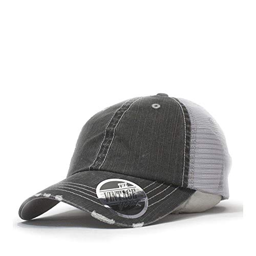 The Vintage Year Washed Cotton Low Profile Mesh Adjustable Trucker Baseball Cap (Distressed Black)