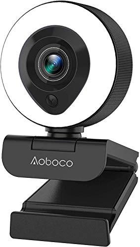 【令和2年最新版】webカメラ ウェブカメラ PCカメラ フルHD1080p 200万画素 リングフィルライト付き H.264スケーラブルビデオコーディング オートフォーカス 美顔機能 背景置き換え ステレオマイク内蔵 ビデオ通話 skype会議用PCカメラ 360°調整 折り畳み式 プラグアンドプレイ 三脚取付可能 正月 新年 ウェブ会議/動画配信/ゲーム実況/ビデオ通話/在宅勤務 Windows7/8/10 Mac OS X/Youtube/Skype/zoom/facetime/Xbox one 1年安心保証 Aoboco
