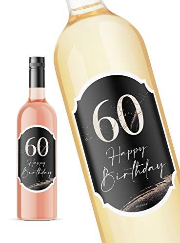 JoliCoon 60 Geburtstag Flaschenetikett - Happy Birthday 60 8,5x12cm